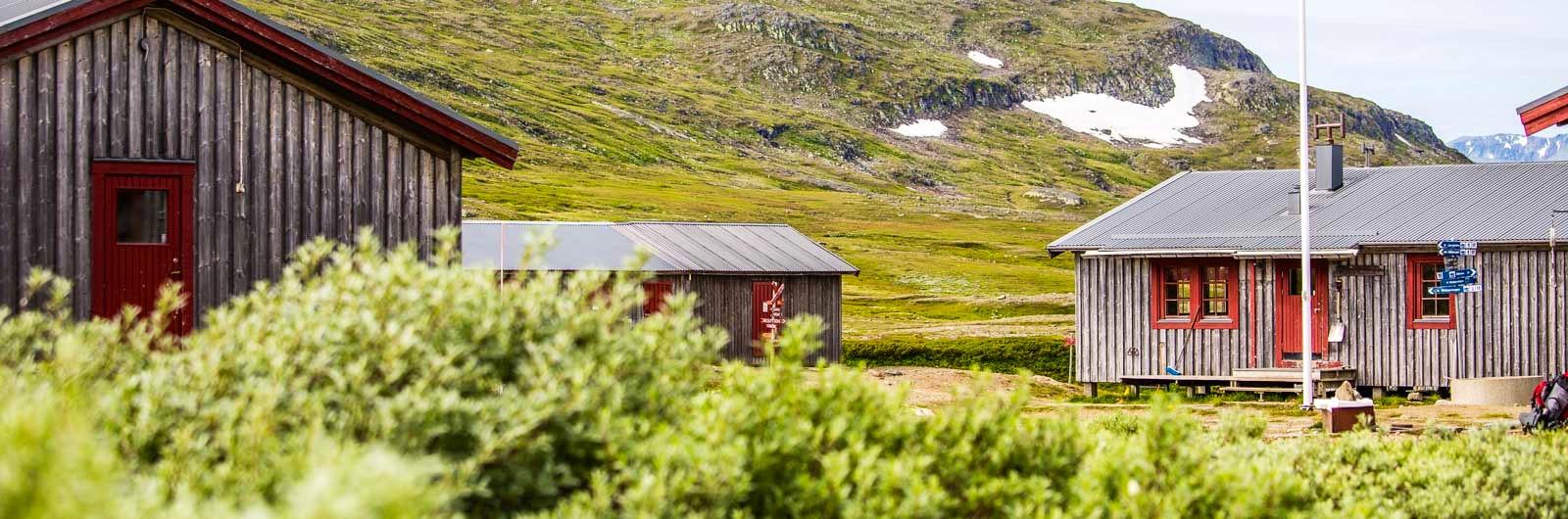 Helags fjällstation bland gröna berg