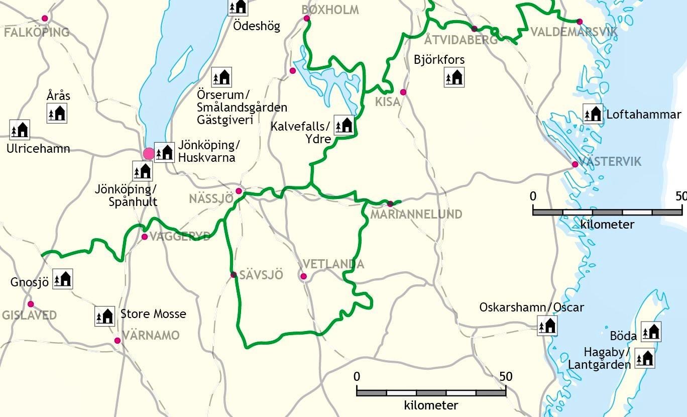 Hoglandsleden utmärkt i grönt på karta