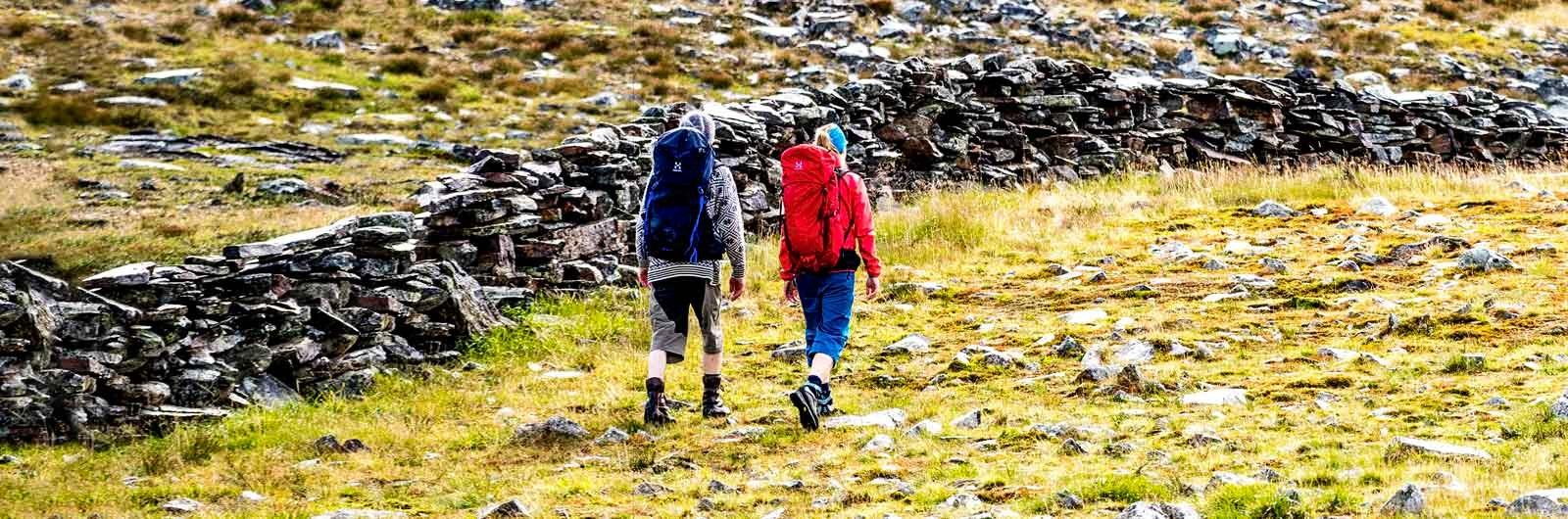 Två vandrare intill mur längs led