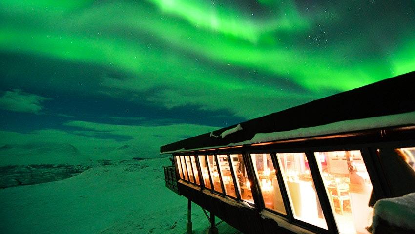 aurora sky station with northen lights