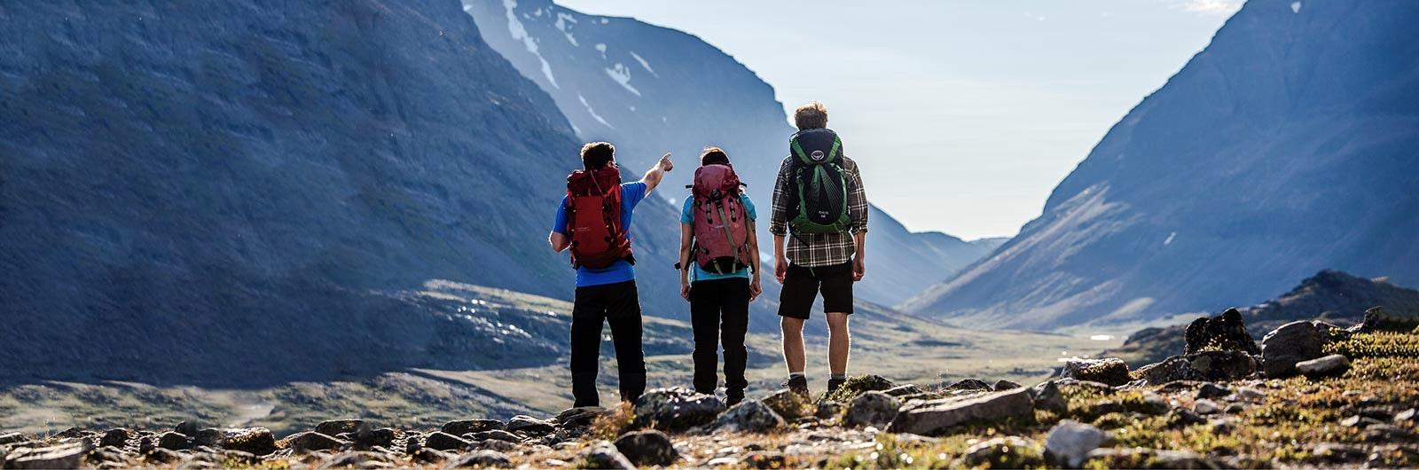tre personer pekar ut mot fjället