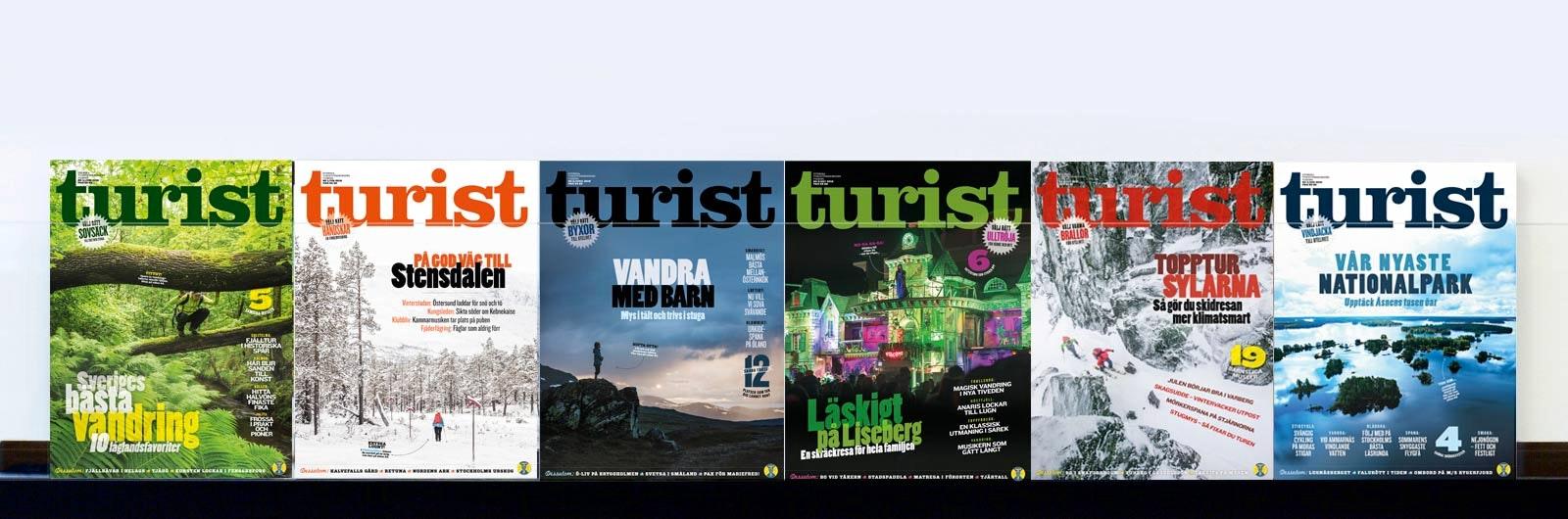 Flera nummer av tidningen Turist