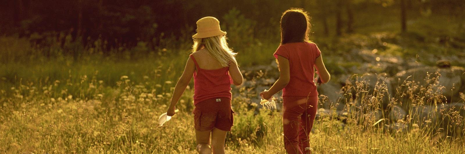Två flickor på sommaräng i motljus