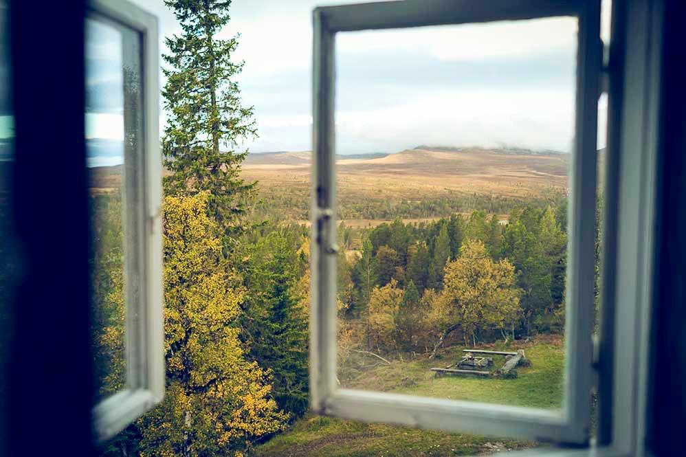 Utsikt från rum på STF Grövelsjön