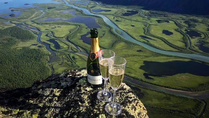 Champagne vid floddelta