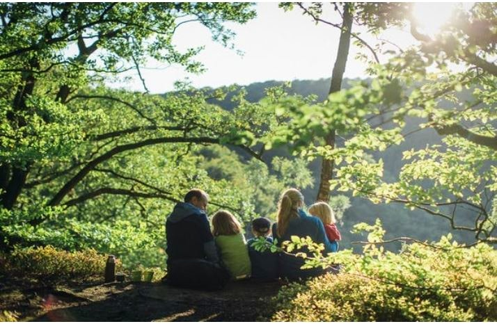 Familj myser under träd i Söderåsen