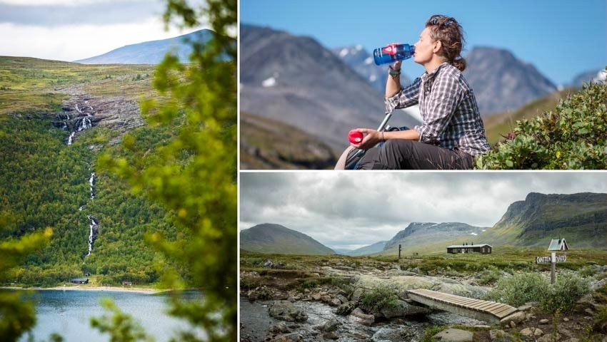 Fjällmiljöer och vandrare längs Kungsleden Nikkaluokta – Vakkotavare