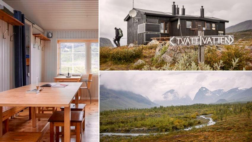 Hisnande landskap i kollage från Nikkaluokta