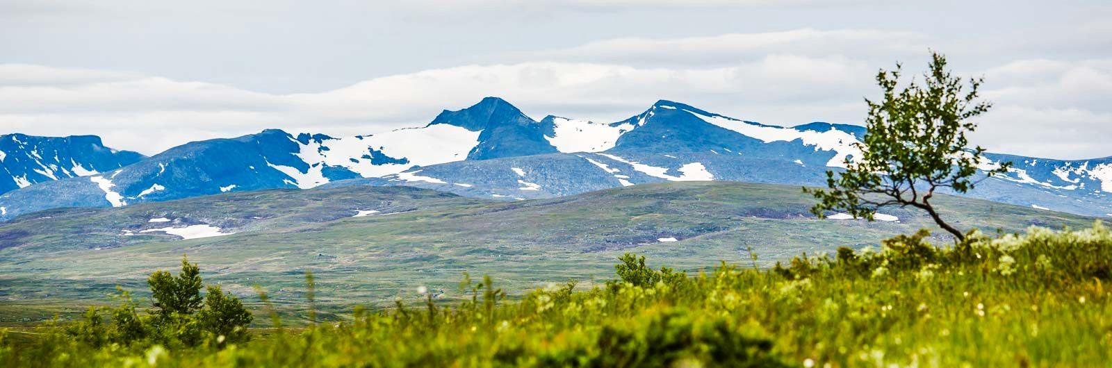 Snöklädda fjäll kantar leden Storulvån – Ljungdalen