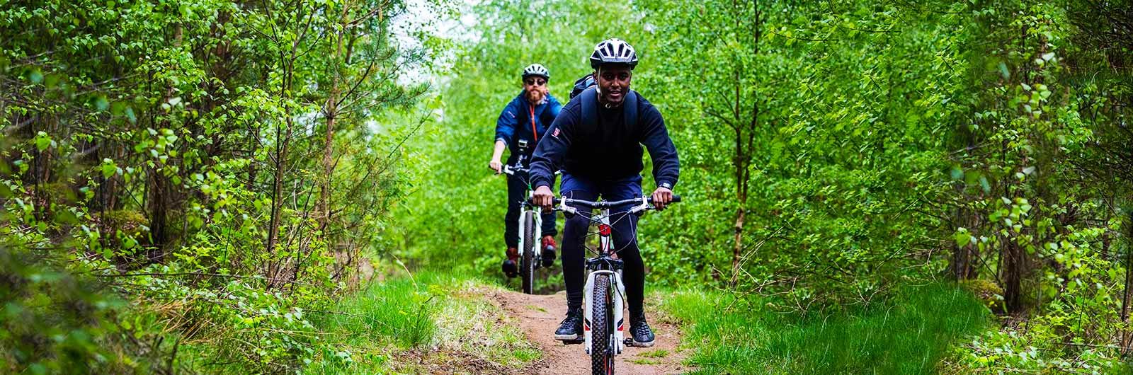 äventyr på cykel i skogen
