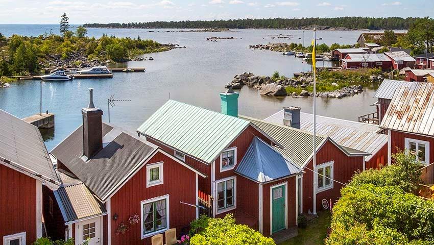 fiskestugor och hav vid söderhamn
